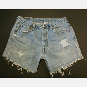 Levi's 501 cut off shorts 30 31 Button fly